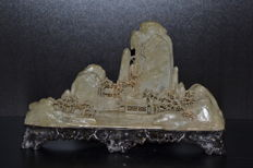 A hand carved  Soapstone Mountain Village Statue - China - mid 20th century