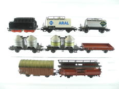 Märklin H0 - 4612/4503/e.a.- 8 different freight carriages: car transport carriage, tank wagon, lignite car, tender for BR 01 and others [735]