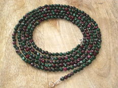 Long necklace and bracelet, ruby in zoisite stone
