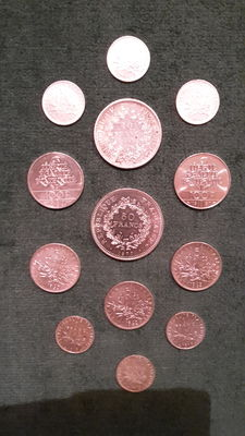 France – 1 Franc to 100 Francs (lot of 13 coins) 1915 to 1987 – Silver