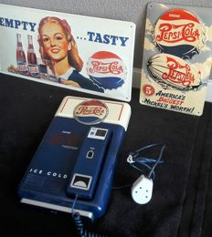 2 Pepsi Cola signs in relief and a retro Pepsi phone - from the 80s/90s