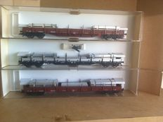 Fleischmann H0 - 5287K/5787K - 3 x 4 Axled stanchion wagon of the DB/DR loaded with aluminium ingots