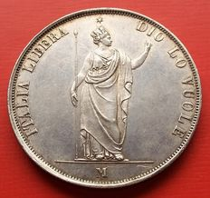 Provisional Government of Lombardy – 5 Lire - 1848 - Milan – silver