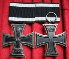 "Germany WW1 Iron Crosses 1st and 2nd Class 1914 Manufacturer: ""KO"" Royal Mint, Medal Department."