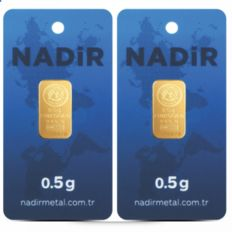 2 items: Nadir gold bars -  0.5g fine gold each - purity 995/1000 24 Karat gold bars - Gold bar Bullion - blistered- certified