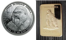 Scottsdale Mint - 5000 Francs - 1 oz 999 silver coin Republic of Congo Silverback Gorilla 2015 - Silverback + 1 oz medal bar Gorilla