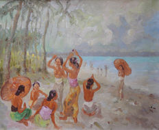 Oil on canvas - Impressionist scene: women at the beach - Bali - Indonesia