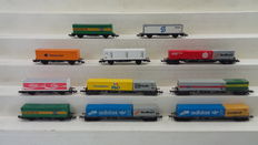 Fleischmann/Minitrix N - 8240/8243 - 11 container wagons with containers of the DB