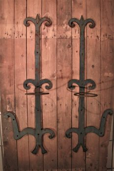 French wrought iron wall ornaments, suitable as plant hangers, 95 cm high, ca. 1900, France