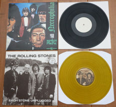 The Rolling Stones- Lot of 2 special releases: Necrophilia (very rare US unofficial from '87) & Each Stone Unplugged (special collector's edition of 125 copies on yellow wax, nr. 9/125, low number!)