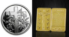 USA - 1 ounce 999 silver coin - Religion / Cross + 28 gram medallion bar with 24 carat gold-plating - Space for engraving on the reverse