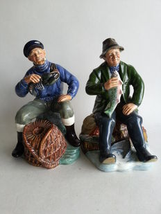 2 Royal Doulton - aardewerk beelden 'A Good Catch' en 'The Lobster Man'