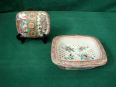 Antique Famille Rose Medallion 3 Piece Soap Dish - China - early 20th century (Republic period)