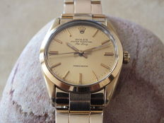 Rolex 14K Yellow Gold Shell-steel Air-King Watch Gold Dial  ref:5520 circa 1970.