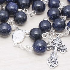 Rosary made of Blue Gold Stone beads with Sterling silver 925.
