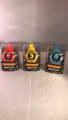 Lot 3 brand new Pac-Man watches - original Namco Bandai.