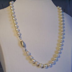 A magnificent big Akoya pearl necklace with a 14 kt white gold clasp