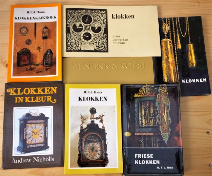 Seven books about clocks, in very fine condition.