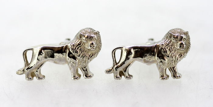 Sterling Silver Lion Cufflinks,