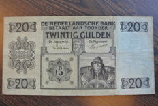 "Netherlands - banknote 20 guilders 1926 ""Sailor"""