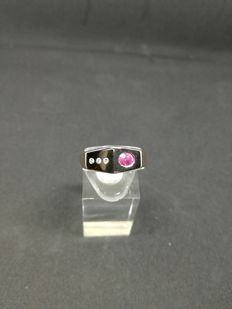 14 kt rose gold ring with ruby and diamonds for 0.05 ct - size: 22.5 ***No reserve price***