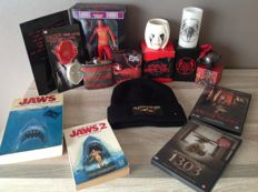 Lot horror items / American Horror Story - Freddy Krueger - Jaws - 2 horror dvd - Silence of the lambs hat