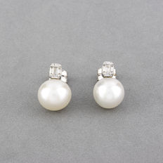 Pendientes - Diamantes 0.30 ct - Perla south sea pearls (australiana) de 11,10 mm (aprox)