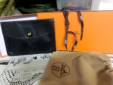 Hermès - black leather pochette clutch with box and dust bag