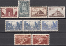 France 1929/1931 – Monuments and sites series – Yvert No. 258, 259, 260, 260a, 261, 261b, 261c, 262, 262A