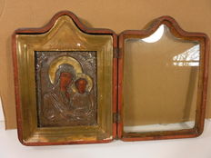 19th Century Russian Icon with Rizza (probably silver)