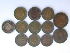 United States - 1 & 2 cents 1860/1908 (12 coins) - copper