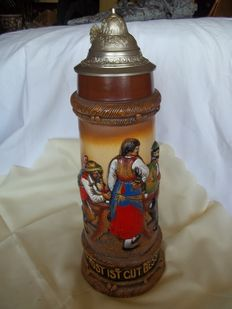 Very large and beautiful Austrian beer jug - Contents 3 litres - In pristine condition - height 45 cm - weight 3 kg - marked