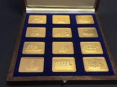 Germany - 12 piece 1 oz silver bullion set - the most famous sailing ships - with 24 carat gold plating - including packaging and certificate