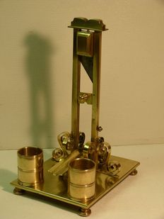 Sculptural cigar cutter in the shape of a guillotine, brass - France - around 1860/70