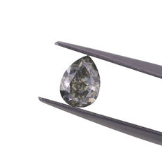 Natural Fancy grey 1.02 ct Pear cut diamond, GIA.