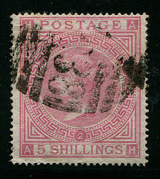 Great Britain 1867/1883, Queen Victoria - 5 shilling rose plate 2 - Stanley Gibbons 126 Used Abroad C38 Callao, Peru