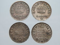 Kingdom of Italy - 5 Soldi, 1809, 1810, 1811 and 1812 Napoleonic Milan (4 coins) - silver