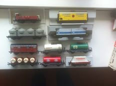 Fleischmann H0 - 1492/5204/-34/5322/5400/-02/-09/5569 - 10 Various goods wagons , 9 x of the DB and 1 x of the SJ