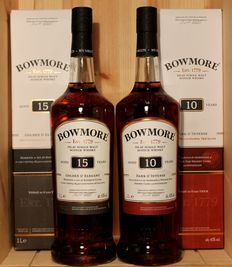 "2 bottles - Bowmore: 1. aged 10 years, ""Dark & Intense"",  1 Litre, 40%vol.  + 2. aged 15 years, ""Golden & Elegant"",  1 Litre, 43%vol."