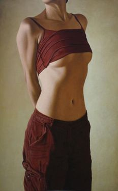 Willi Kissmer - Upright Semi-Nude Woman, The Red Dress, Black On Grey