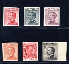 Italy 1908/29 - Lot of 5 proofs and one stamp without perforation - Sass#: p111, 185a, p204, p205, p201, p85