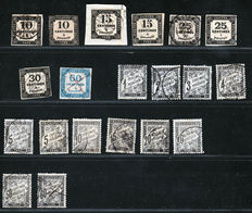 France 1871 - selection of Tax stamps between Yvert n° 2-21, including No. 5a, 9  and 17 signed by Schoolmeyer