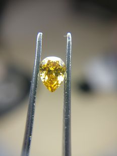 0.32 ct Pear cut diamond Fancy Deep Orange Yellow Even I1
