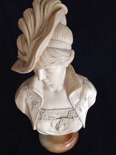 Vintage - bust of a woman made of marble dust
