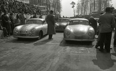 1952 Porsche 356 spilt screen motor race Dieburger Porsche only black and white Photograph 2  55cm x44cm