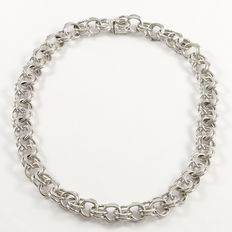 Solid .925 Sterling Silver Necklace - Length: 33 cm