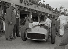 1954 German Grand Prix Mercedes Benz Team Pits Neubauer Black and White Photograph.