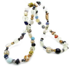 Viking Bronze and Glass Beads Necklace with Numerous Amulets - 480mm