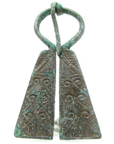 Medieval Bronze Penannular Brooch with Runic Symbols - 65 mm