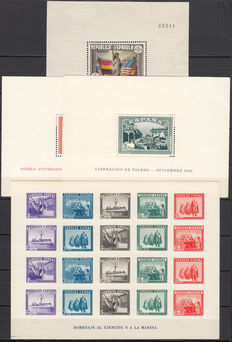 Spain 1938 – US Constitution, National Uprising, Army and Navy – imperforated – Edifil #764, 836/837, 850